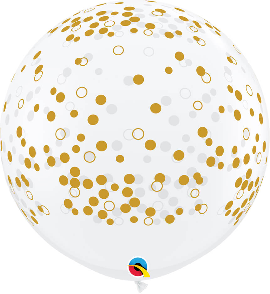 3' / 91cm Confetti Dots-A-Round Diamond Clear Qualatex #57893-1