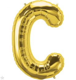 """34"""" / 86cm Gold Letter C North Star Balloons #59285"""