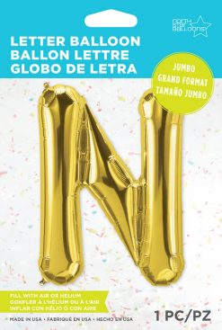 """34"""" / 86cm Gold Letter N North Star Balloons #59938"""
