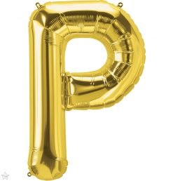 """34"""" / 86cm Gold Letter P North Star Balloons #59942"""