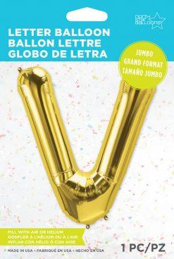 """34"""" / 86cm Gold Letter V North Star Balloons #59954"""