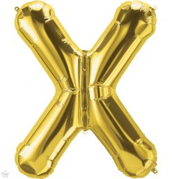"""34"""" / 86cm Gold Letter X North Star Balloons #59958"""