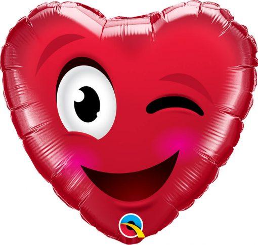 18″ / 46cm Smiley Wink Heart Qualatex #78549