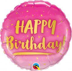 18″ / 46cm Birthday Gold & Pink Qualatex #78672