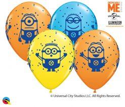 "11"" / 28cm Minions Asst of Yellow, Orange, Robin's Egg Blue Qualatex #80573-1"