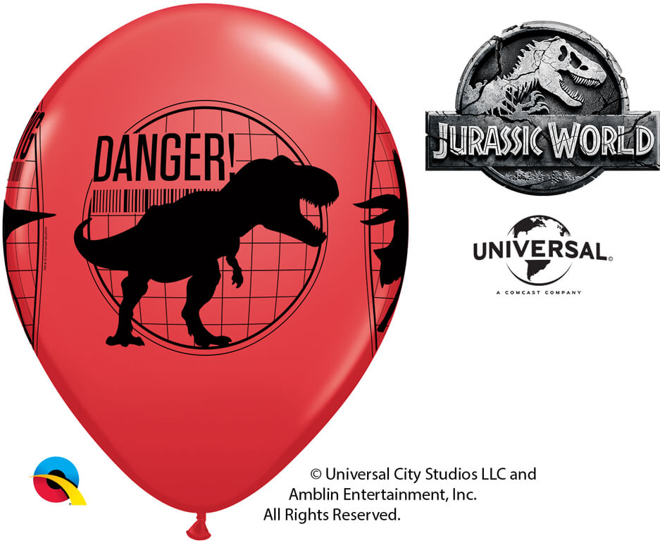 "11"" / 28cm Jurassic World: Fallen Kingdom Asst of Red, Yellow, Orange Qualatex #80790-1"