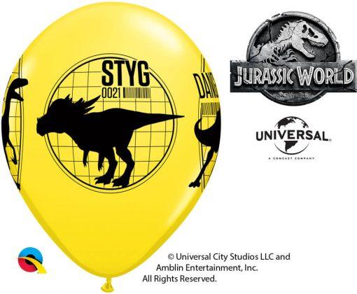"11"" / 28cm Jurassic World: Fallen Kingdom Asst of Red, Yellow, Orange Qualatex #80790-1"