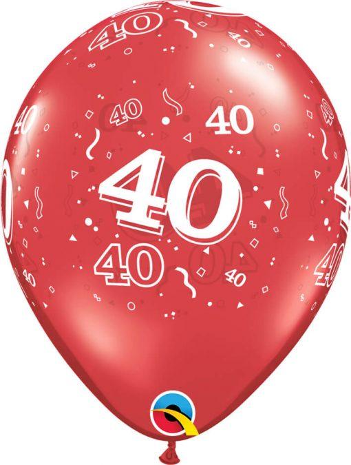 "11"" / 28cm 40-A-Round Ruby Red Qualatex #82075-1"