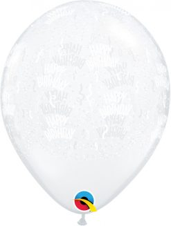 "11"" / 28cm Birthday-A-Round Diamond Clear Qualatex #82092-1"