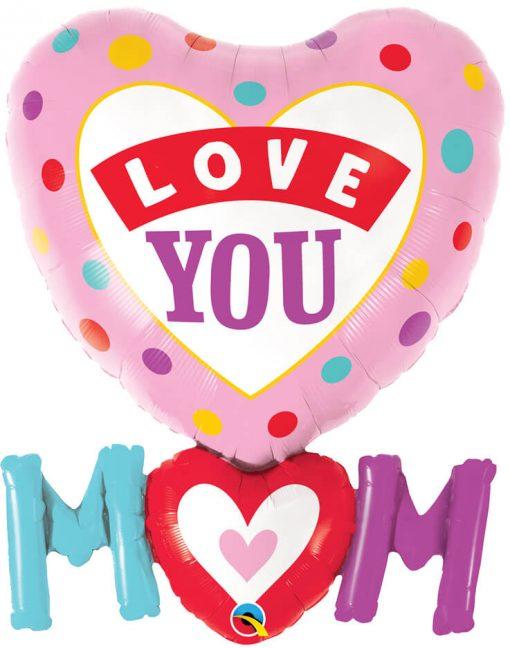 33″ / 84cm Love You M(HEART)M Dots Qualatex #82552