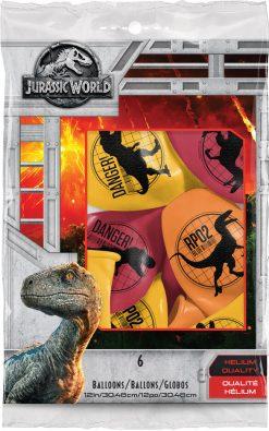 "11"" / 28cm 6szt Jurassic World: Fallen Kingdom Asst of Red, Yellow, Orange Qualatex #83919"