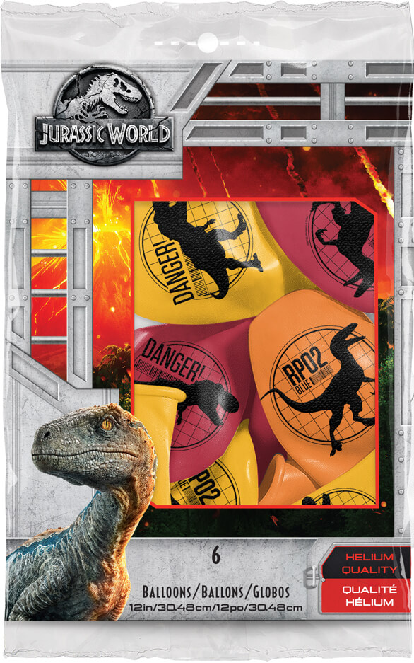 "11"" / 28cm 6szt Jurassic World: Fallen Kingdom Asst of Red, Yellow, Orange Qualatex #83919"