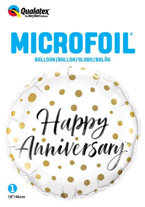 18″ / 46cm Happy Anniversary Gold Dots Qualatex #85847