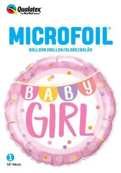18″ / 46cm Baby Girl Banner & Dots Qualatex #85851