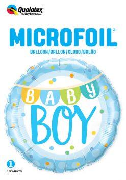 18″ / 46cm Baby Boy Banner & Dots Qualatex #85901
