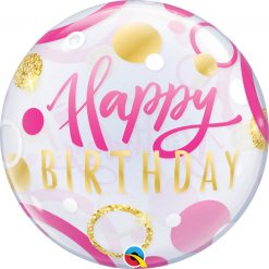 "22"" / 56cm Birthday Pink & Gold Dots Qualatex #87745"