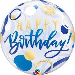 "22"" / 56cm Birthday Blue & Gold Dots Qualatex #87748"