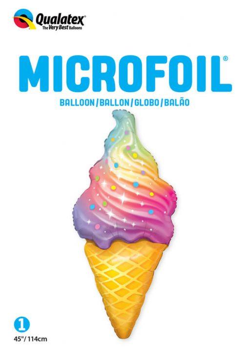45″ / 114cm Rainbow Swirl Ice Cream Qualatex #87951