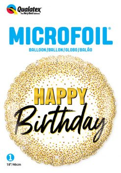 18″ / 46cm Birthday Gold Glitter Dots Qualatex #88024