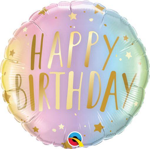 18″ / 46cm Birthday Pastel Ombre & Stars Qualatex #88052