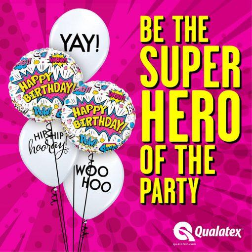 18″ / 46cm Birthday Super Hero White Qualatex #88128