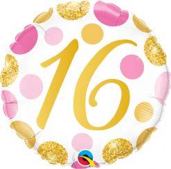 18″ / 46cm 16 Pink & Gold Dots Qualatex #88172