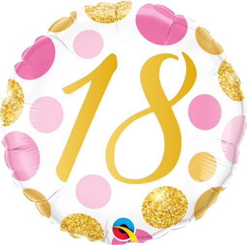 18″ / 46cm 18 Pink & Gold Dots Qualatex #88175