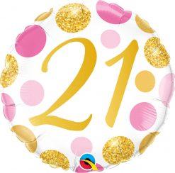 18″ / 46cm 21 Pink & Gold Dots Qualatex #88178