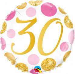 18″ / 46cm 30 Pink & Gold Dots Qualatex #88181