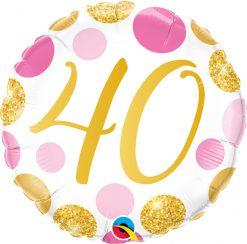18″ / 46cm 40 Pink & Gold Dots Qualatex #88184