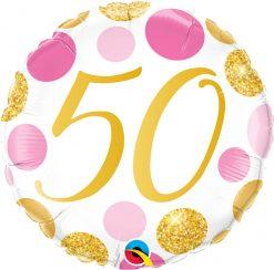 18″ / 46cm 50 Pink & Gold Dots Qualatex #88187