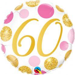 18″ / 46cm 60 Pink & Gold Dots Qualatex #88190