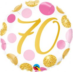 18″ / 46cm 70 Pink & Gold Dots Qualatex #88193