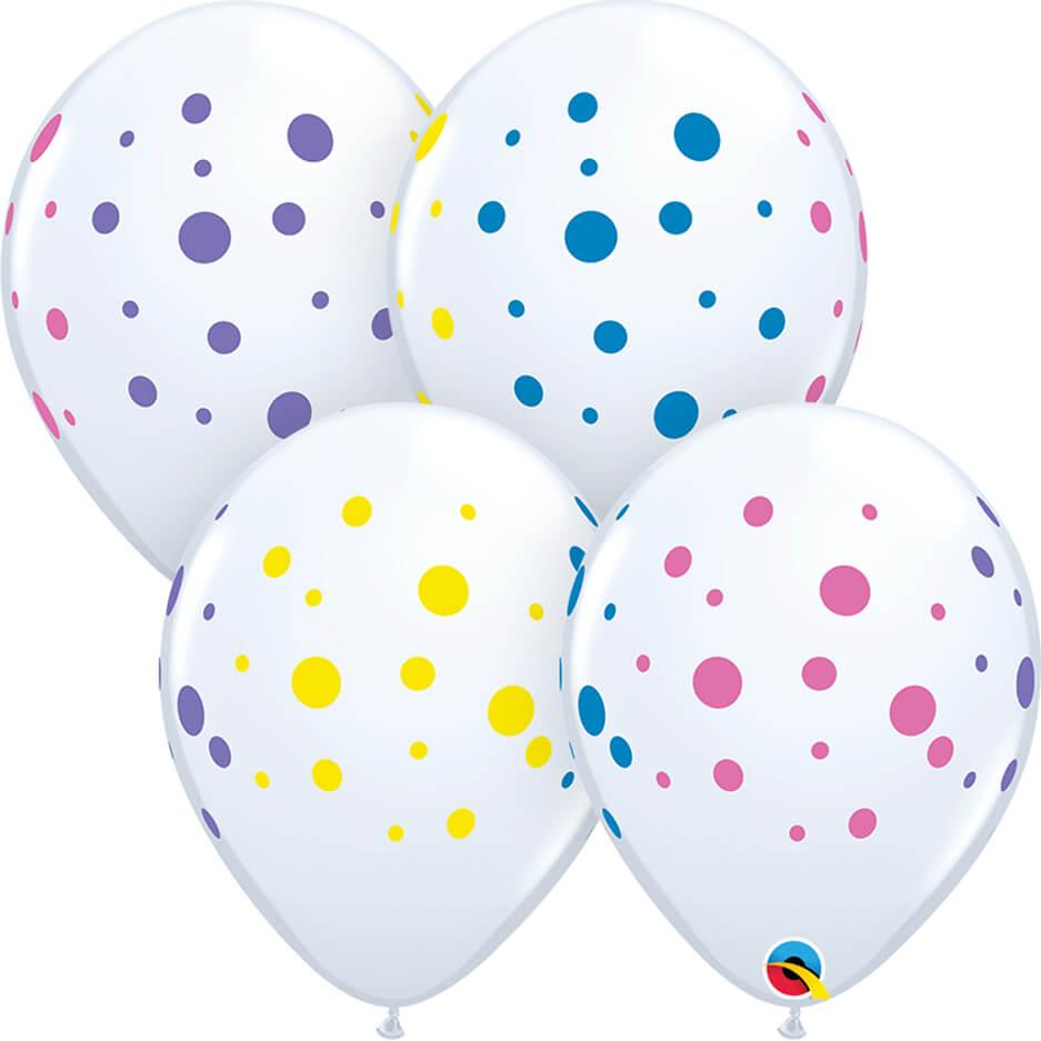 "11"" / 28cm Colorful Dots White Qualatex #88217-1"