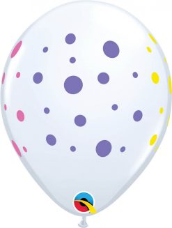 "11"" / 28cm Colorful Dots White Qualatex #88217-1"