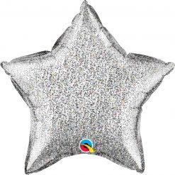 "20"" / 51cm Star Glittergraphic Silver Qualatex #88859"