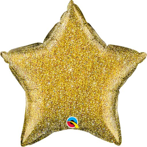 "20"" / 51cm Star Glittergraphic Gold Qualatex #88925"