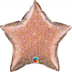 "20"" / 51cm Star Glittergraphic Rose Gold Qualatex #88949"