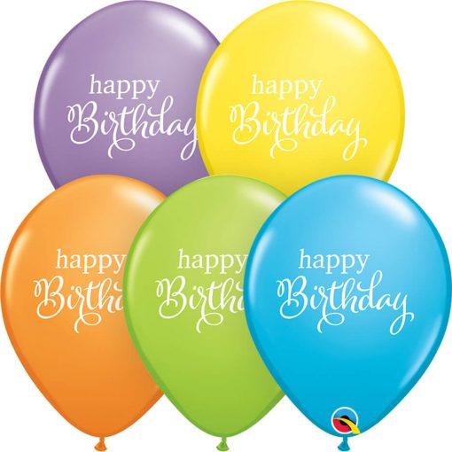 "11"" / 28cm Simply Happy Birthday Bright Pastel Assortment Qualatex #89447-1"