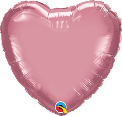 18″ / 46cm Heart Chrome® Mauve Qualatex #90047