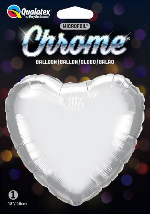 18″ / 46cm Heart Chrome® Silver Qualatex #90034