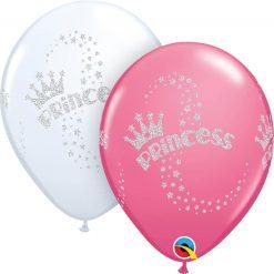 "11"" / 28cm Glitter Princess Asst of White, Rose Qualatex #90395-1"