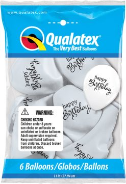 "11"" / 28cm 6szt Simply Happy Birthday White Qualatex #91141"