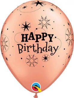 "11"" / 28cm 6szt Birthday Sparkle Rose Gold Qualatex #91154"