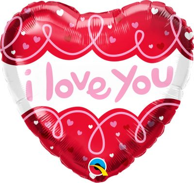 18″ / 46cm I Love You Doodle Loops Qualatex #97174