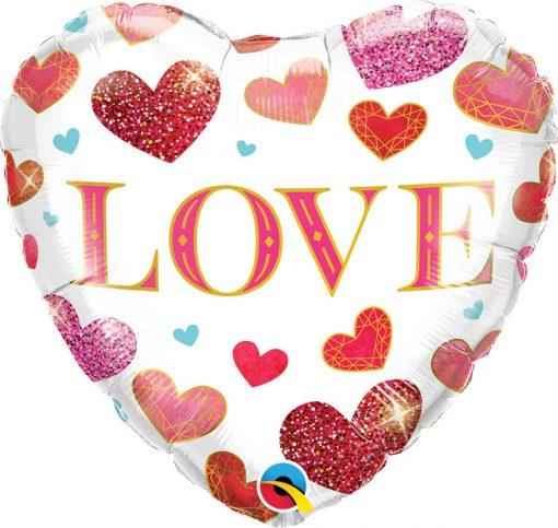 18″ / 46cm Love Jewel Hearts Qualatex #97185
