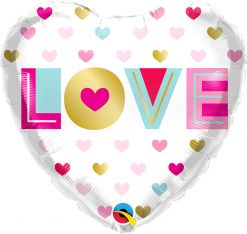 18″ / 46cm Love Metallic Hearts Qualatex #97188