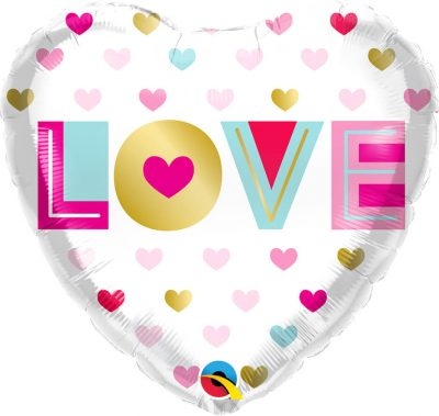 18″ / 46cm Love Metallic Hearts Qualatex #97188