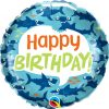 """18"""" / 46cm Birthday Fun Sharks Qualatex #97379"""
