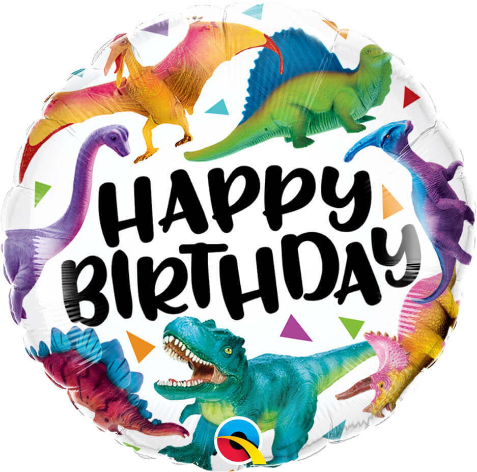 "18"" / 46cm Birthday Colorful Dinosaurs Qualatex #97382"
